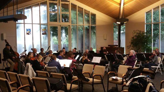 Lucas Valley Chamber Orchestra's weekly rehearsal at the church